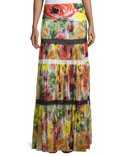 Floral-Print Tulle Maxi Skirt