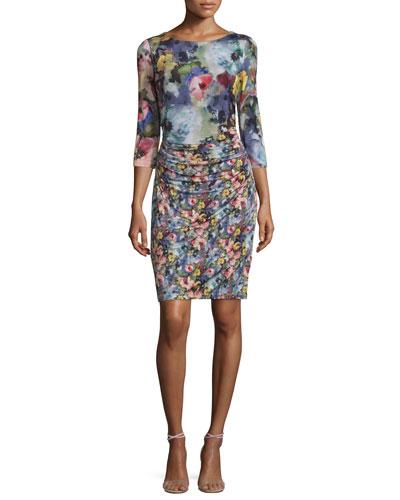 3/4-Sleeve Floral-Print Mesh Sheath Dress