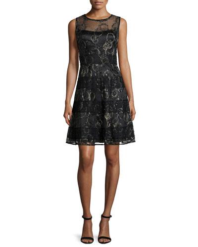 Sleeveless Metallic-Striped Cocktail Dress, Black/Gold