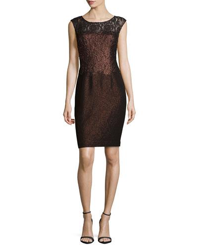 Cap-Sleeve Lace Combo Cocktail Dress