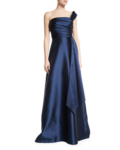 Strapless Draped Ball Gown, Navy