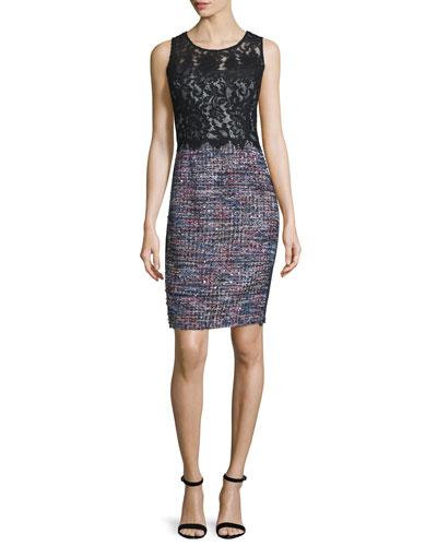 Sleeveless Mixed-Media Sheath Dress, Black/Multi