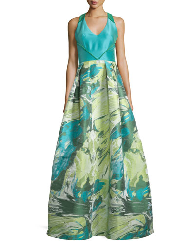 Racerback Floral Jacquard Ball Gown