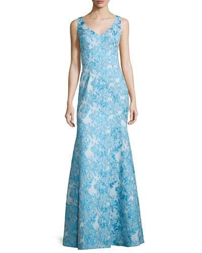 Sleeveless Brocade Mermaid Gown