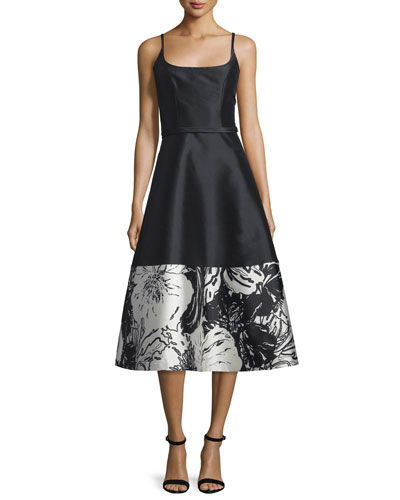 Sleeveless A-line Floral-Hem Cocktail Dress