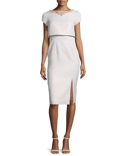 Short-Sleeve Popover Cocktail Dress