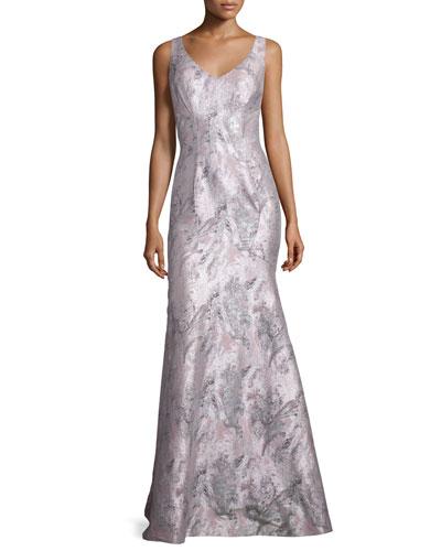 Sleeveless Printed Mermaid Gown