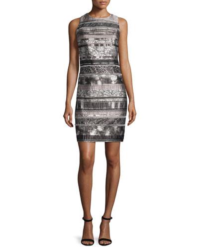Sleeveless Mixed-Media Sheath Dress, Smoke/Multi