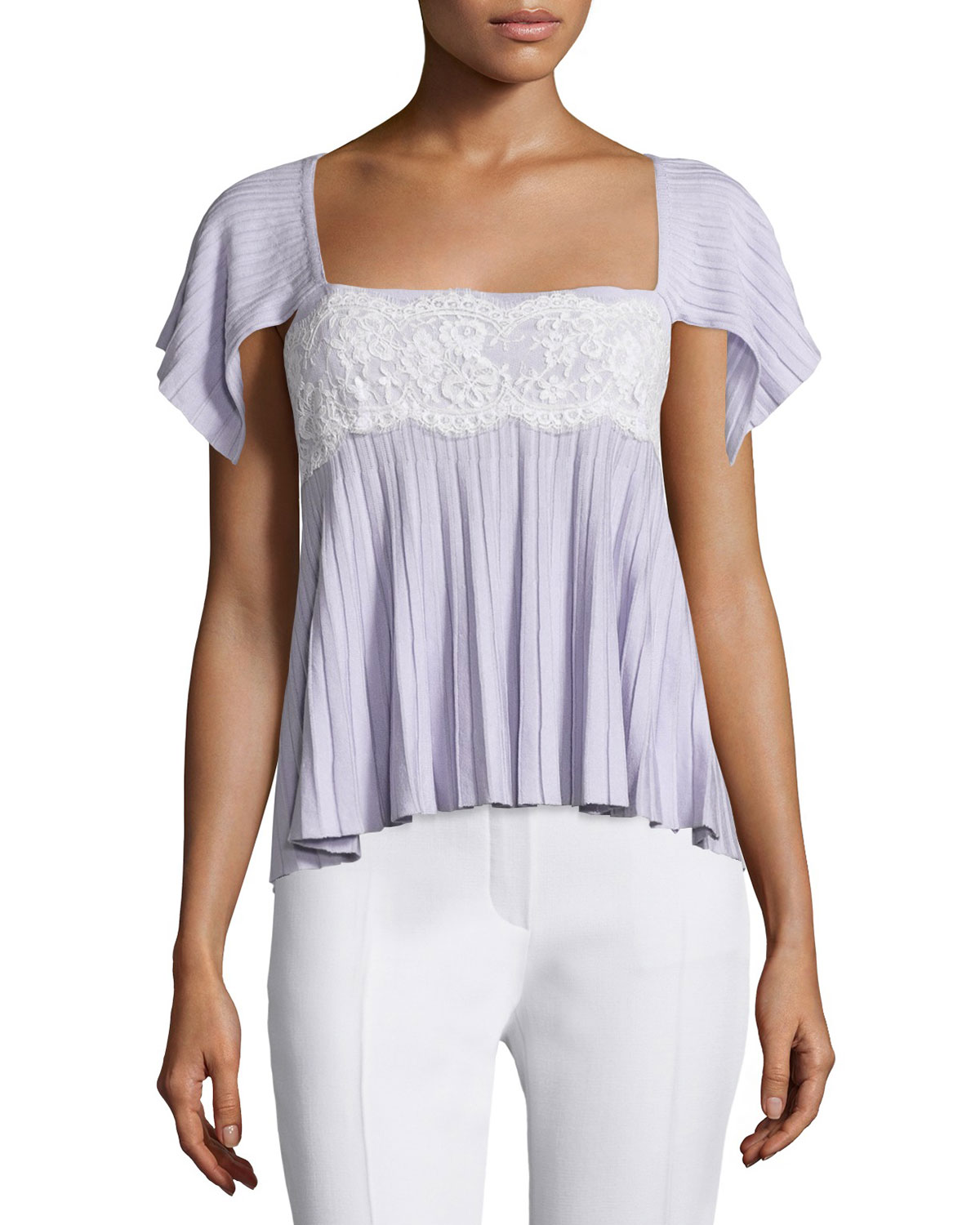 Cape-Sleeve Pleated Sweater, Lilac