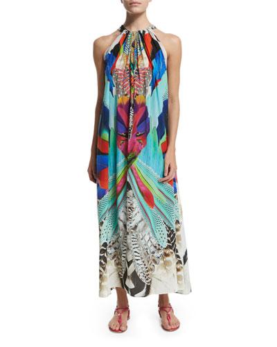 Printed Silk Crepe Halter Maxi Dress, Soaring