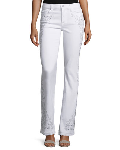 Truly NM Embellished Boot-Cut Jeans, White