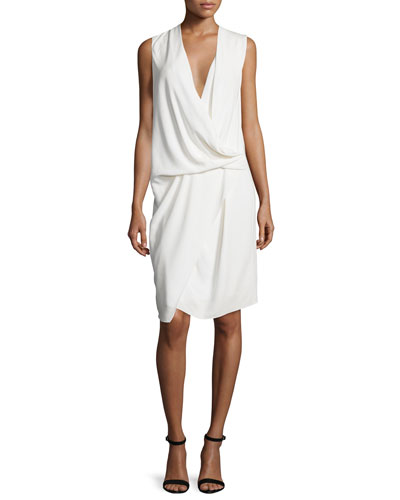 Sleeveless V-Neck Draped Asymmetric Cocktail Dress