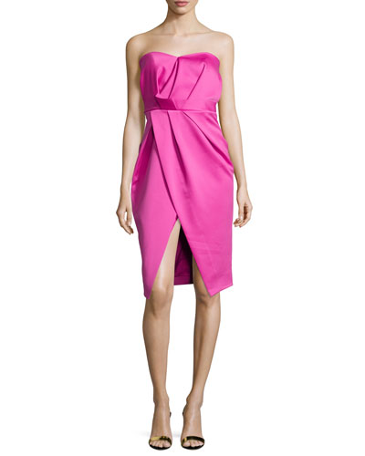 Strapless Pleated Sweetheart Cocktail Dress, Hot Pink