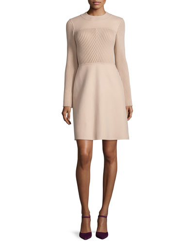 Long-Sleeve Jewel-Neck Sweater Dress, Beige