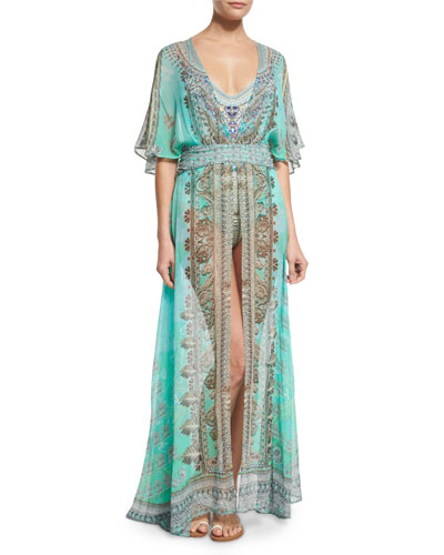 V-Neck Printed Silk Long Coverup Dress, Traje de Luce