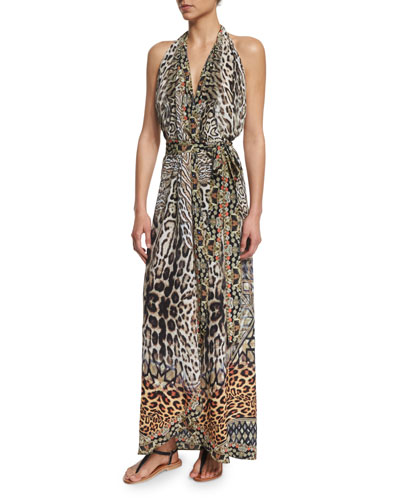 Printed Halter Wrap Dress Coverup, The Mighty