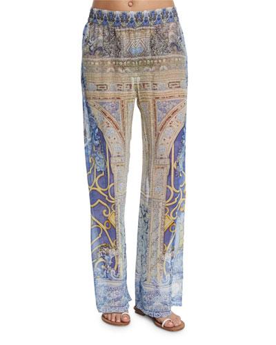 Printed Wide-Leg Coverup Pants