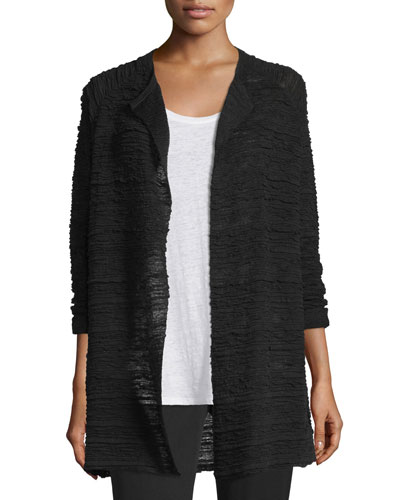 Hemp Long Cardigan, Black