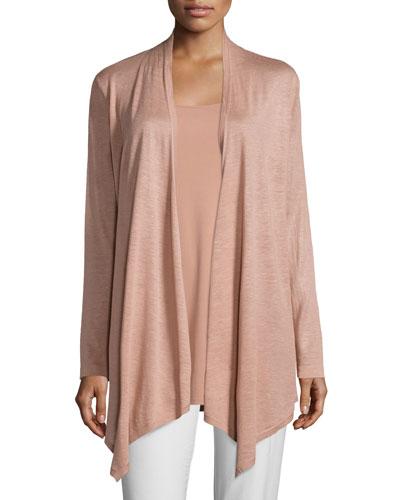 Fine Silk-Linen Drape-Front Cardigan