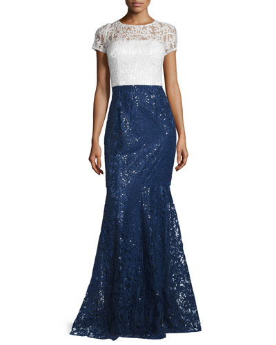 Short-Sleeve Lace Combo Gown