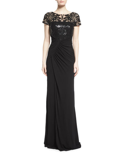 Short-Sleeve Lace-Bodice Ruched Gown