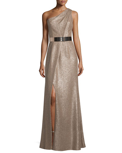 One-Shoulder Belted Metallic Gown