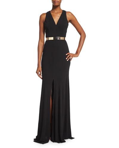 Sleeveless Jersey Column Gown