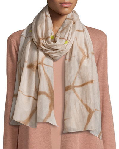 Artisanal Cotton/Silk Refractions Scarf, Toffee Cream