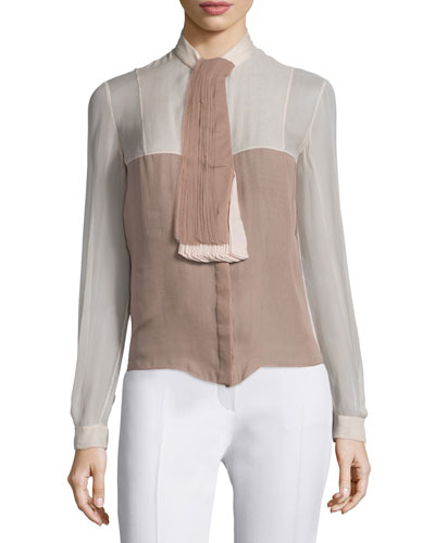 Long-Sleeve Colorblock Top, Beige