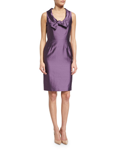 Sleeveless Scoop-Neck Sheath Dress, Purple