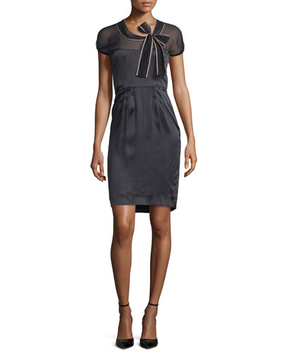 Short-Sleeve Sheer-Yoke Sheath Dress, Nero