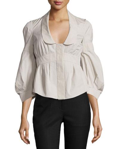 Lantern-Sleeve Short Jacket, Khaki