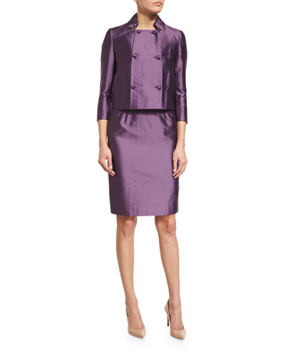 3/4-Sleeve Double-Breasted Jacket, Purple
