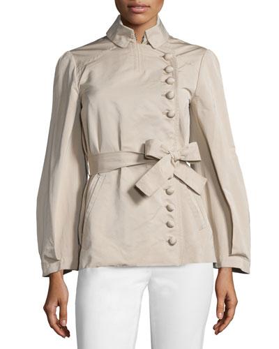 Asymmetric Button-Front Belted Jacket, Beige