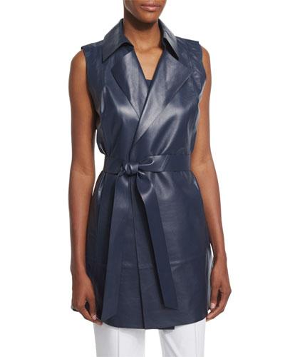Diora Long Belted Leather Vest