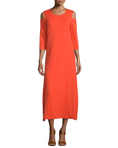 Cold-Shoulder A-line Jersey Maxi Dress, Poppy Orange
