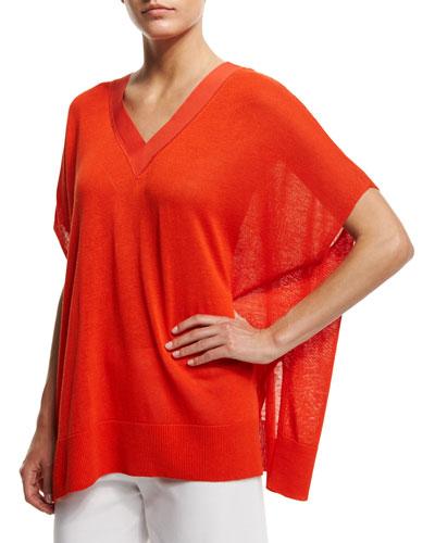 V-Neck Boxy Linen-Blend Sweater, Petite