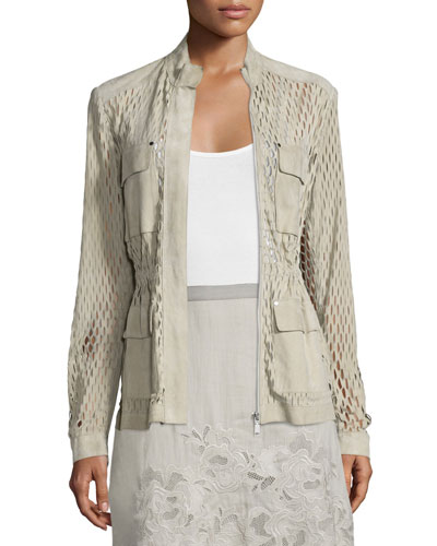 Katya Perforated-Suede Safari Jacket, Sand