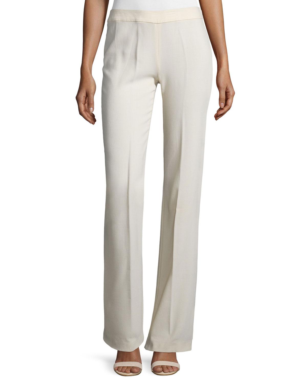 Mid-Rise Straight-Leg Pants, Beige