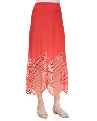 Lauryn Midi Lace-Hem Skirt, Plus Size