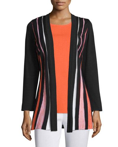 Pleated-Front Long-Sleeve Jacket, Petite