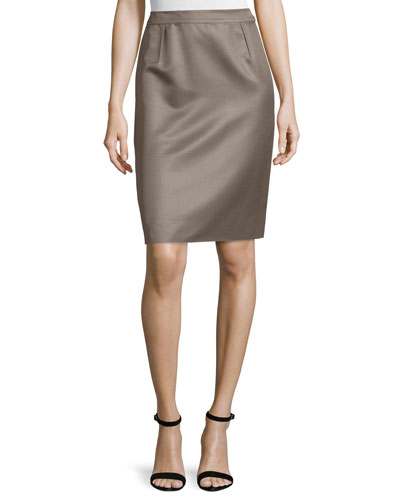 Mid-Rise Pencil Skirt, Smoke