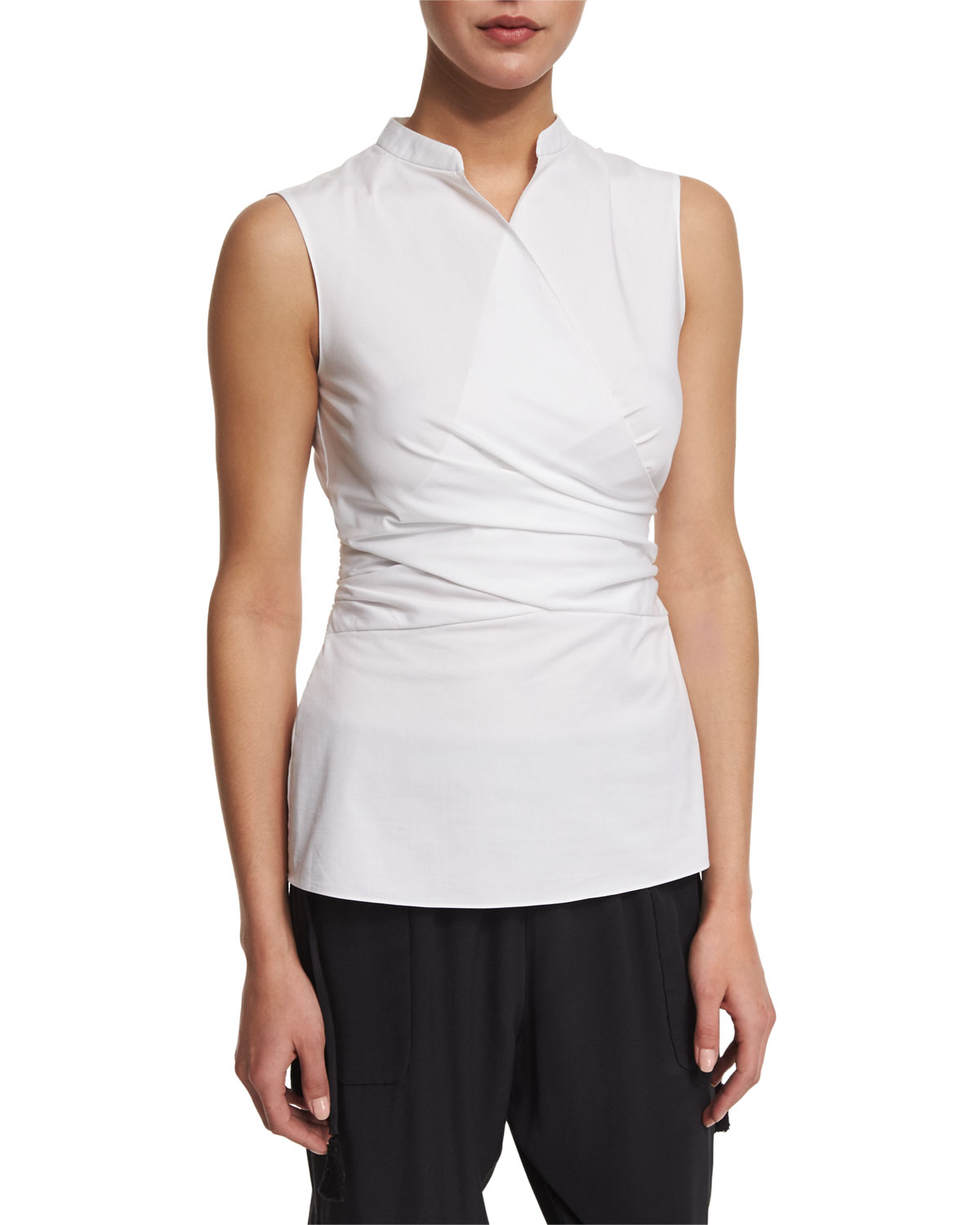 Maisa Sleeveless Faux-Wrap Blouse, White