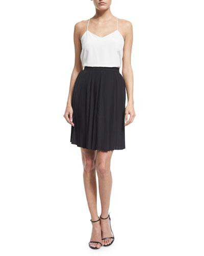 High-Waist A-Line Skirt, Nero
