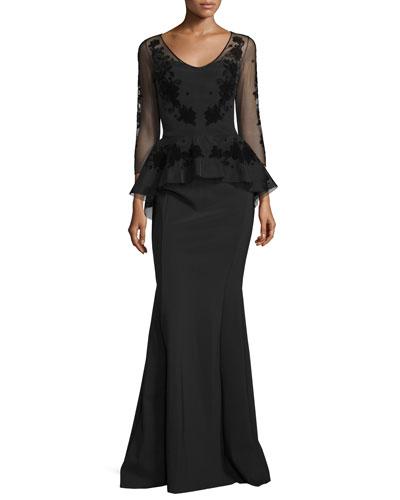 Arlene 3/4-Sleeve Peplum Mermaid Gown
