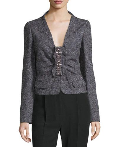 Long-Sleeve Embellished-Front Jacket, Purple/Multi