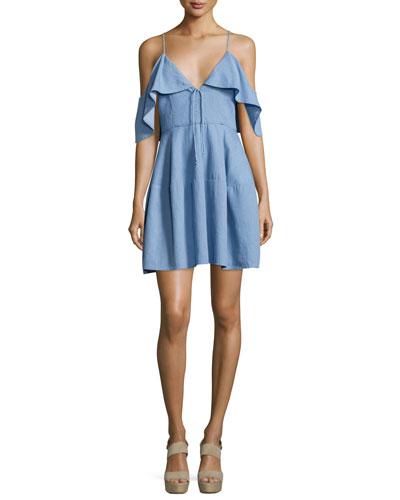 Cold-Shoulder Chambray Mini Dress, Light Blue