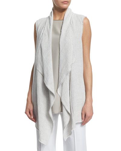Spencer Draped Linen Vest, Pebble