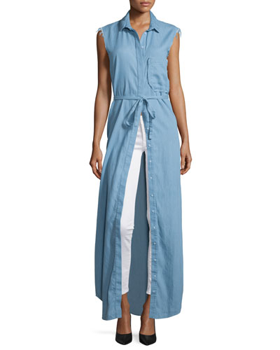 Chambray Sleeveless Maxi Shirtdress, Light Blue