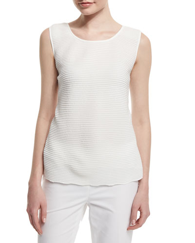 Cleo Sleeveless Pleated-Front Blouse